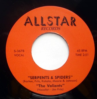 JIM FRIIS & THE VALIANTS : Bop A Lena / Serpents & Spiders
